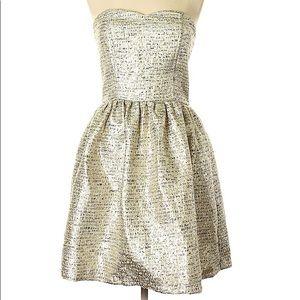 Minuet / ModCloth Gold Tweed Strapless Minidress